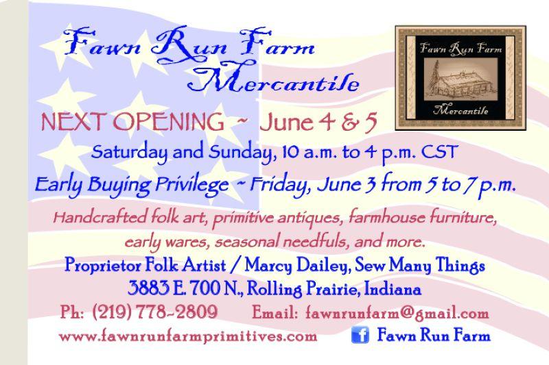 Fawn Run Farm Mercantile June opening