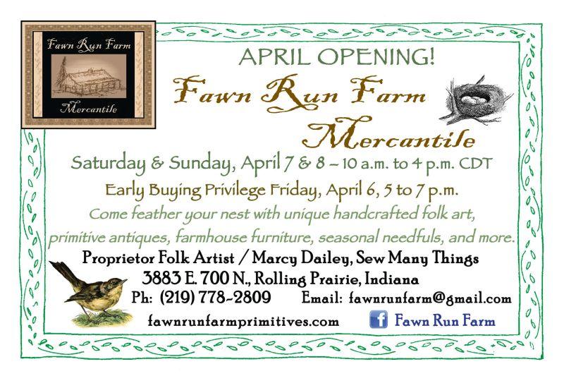 Fawn Run Farm Mercantile April opening